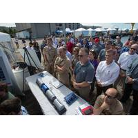 A crowd gathers to hear speeches and presentations during the Advanced Naval Technology Exercise (ANTX) 2019 held on Aug. 29 at the Naval Undersea Warfare Center Division Newport's Narragansett Bay Test Facility. ANTX 2019 demonstrates the future of Navy technologies in a low-risk environment before they become integrated in the fleet. This year's theme was Prepare For Battle: Undersea Superiority. (by Rich Allen, McLaughlin Research Corp.)