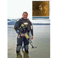 Diver enters water with JW Fishers Pulse 8X detector, Inset – Sonar image of bicycle on river bottom (Photo: JW Fishers)