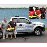 Fairhaven's harbormaster and shellfish warden with ROV, Inset - Downe Twp with side scan sonar