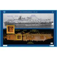 Features on a photo of USS Independence CVL 22 are captured in a 3D low-resolution sonar image of the shipwreck in Monterey Bay National Marine Sanctuary. The Coda Octopus Echoscope 3D sonar, integrated on the Boeing AUV Echo Ranger, imaged the shipwreck during the first maritime archaeological survey. The sonar image with oranges color tones (lower) shows an outline of a possible airplane in the forward aircraft elevator hatch opening. (Credit: NOAA, Boeing, and Coda Octopus)