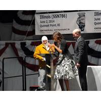 First Lady Michelle Obama, the sponsor for submarine Illinois, approves the weld of her initials, which is now permanently affixed in the ship. (Photo: General Dynamics Electric Boat)