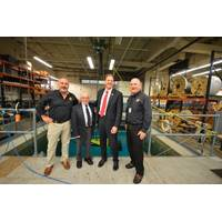 From left to right: director of marketing Giuseppe Di Stefano, Marty Klein, Governor Chris Sununu, and Frank Cobis. (Photo: Klein Marine Systems)