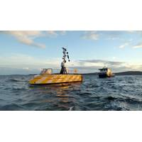 The GEBCO-NF Alumni team concept sets sail from Horten, Norway, on the first of three 24-hour sea-trials. The team observed the successful round of tests from a guard vessel, seen here behind USV-Maxlimer. (Photo: GEBCO)