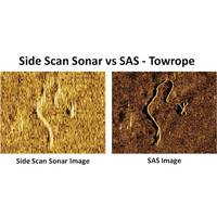 The graphic illustrates the difference in image quality of a 20 meter towrope lying on the seabed (Image courtesy of Kraken Sonar)