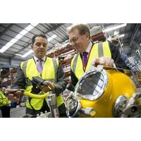 Howard Woodcock, chief executive at Bibby Offshore and Secretary of State for Scotland David Mundell at The Hangar (Photo: Bibby Offshore)