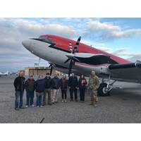 The JALBTCX team standing with COL. Thomas Asbery, Former District Commander, New York District, U.S. Army Corps of Engineers (far right), in front of their aircraft, at Long Island MacArthur Airport in Ronkonkoma, New York.  Credit:  USACE.