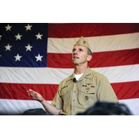 CNO Adm. Jonathan Greenert talks to tidewater area Sailors during an all-hands call aboard the aircraft carrier USS George H.W. Bush (CVN 77). (U.S. Navy photo by Mass Communication Specialist 1st Class Peter D. Lawlor/Released)