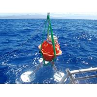 Long-life subsea logging node Fetch was deployed in 550 feet of water to measure ocean temperature and pressure. The Liquid Robotics Wave Glider uploaded the logged data via its high speed acoustic modem, transmitting it to shore via satellite.