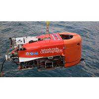 NUI is lowered into the Aegean Sea before plunging to a depth of 500 meters to explore Kolumbo volcano. (Photo by Evan Lubofsky, © Woods Hole Oceanographic Institution)