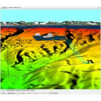 MakaiLay's new 3D Viewer showing the vessel, plough and cable shapes for progressive time steps seen behind the vessel. Relevant GIS data can be imported, such as digital terrain tiles on the bathymetry and aerial imagery overlay on the terrain in the background, as is shown here (Image: Makai Ocean Engineering)