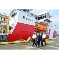 CEO Mark Lamarre and CPO John McCarthy of Seaspan Shipyards with Canadian Coast Guard officials. Photo: Seaspan
