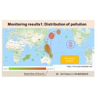 By measuring the concentration of microplastics in the samples, a pollution-concentration distribution has been created. Image Courtesy of Chiba Institute of Technology/NYK