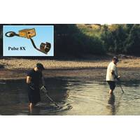 New Mexico State Police officers search shallow waters of Rio Grande with their Pulse 8X detectors looking for a gun. (Photo: JW Fishers)