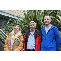 Dr. Miguel Morales Maqueda (center) with Alicia Mountford and Liam Rogerson, the group from Newcastle University carrying out research in Antarctica as part of the ORCHESTRA project. (Photo: Newcastle University)