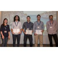 The MTS/IEEE OCEANS'17 Aberdeen Student Poster Competition (SPC) award winners, from left to right: Faye Campbell (Conference LOC SPC Chair), Bilal Wehbe (Second Place), Klemen Istenic (First Place), Habib Mirhedayati Rouds (Third Place), and Dr. Philippe Courmontagne (IEEE OES SPC Chair). (Photo courtesy IEEE OES)