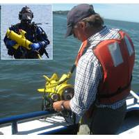 NOAA scientist recovers Fishers TOV towed video system after completing survey, Inset: Sterling Fire Department diver exits reservoir with their Fisher DV-1 drop video. (Photo: JW Fishers)