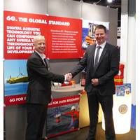 Pictured on the opening day at Subsea Expo 2015 in Aberdeen: Richard Main, Global Asset Manager, Forum Subsea Rentals (Left), Barry Cairns, VP Sonardyne Europe and Africa (Right). (Photo courtesy of Sonardyne International Ltd.)