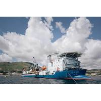 Prysmian Group cableship Giulio Verne during loading operations in Arco Felice (Naples, Italy) Image: TenneT