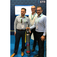 L – R Scott Johnstone (STR), Simon Goldsworthy (Sonardyne) and Jason French (STR) announce the investment at the OSEA 2018 exhibition  (Photo: Sonardyne)
