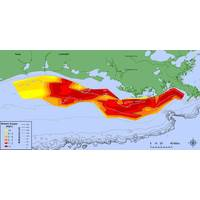 Map showing distribution of bottom-water dissolved oxygen from July 28 to August 3, west of the Mississippi River delta. Black lined areas — areas in red to deep red — have very little dissolved oxygen. (Data: Nancy Rabalais, LUMCON; R Eugene Turner, LSU. Credit: NOAA)