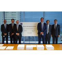 Shown from left to right at the contract signing: William Calligeros, McDermott Country Manager Australia, NZ & PNG; Derek Price, BHGE Regional Sales Leader; Graham Gillies, BHGE Oilfield Equipment Vice President; Ian Prescott, McDermott Senior Vice President Asia Pacific; Hideki Iwashita, INPEX Vice President Finance and Technology Services; and Yosuke Ueda, INPEX Vice President Asset Managem (Photo: McDermott)