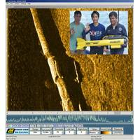 Side scan image of concrete encased pipeline, Inset – Hydromax team with their JW Fishers side scan. (Photo: JW Fishers)
