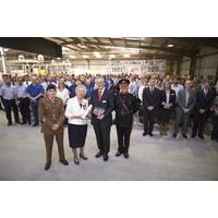 Sonardyne's Managing Director, John Ramsden (centre) in seen here receiving the Queen's Award for Enterprise from the Lord-Lieutenant of Hampshire, Dame Mary Fagan, during her visit to the company's global headquarters.
