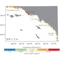 Map of Southern California coastline showing cliff retreat forecasts using 6.6 feet of sea level rise. Orange and red circles indicate extreme erosion beyond 167 feet. (Image: USGS)