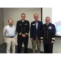 At the stakeholder meeting in Maine: Mark Kontio, Maine staff assistant for Congressman Bruce Poliquin; Lt. David Vejar, northeast navigation manager; Chris Rector, regional representative for Senator Angus King; Rear Adm. Shep Smith, director of Office of Coast Survey. (Photo: NOAA's Office of Coast Survey)