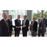 The Technology Qualification certificate was signed at the British Embassy in Copenhagen on July 12. From left to right: Per Langer, Chairman of AW-Energy; Christopher Ridgewell, Chief Technology Officer of AW-Energy; John Liljelund, CEO of AW-Energy; Thomas Thune Andersen, Chairman of Lloyd's Register; HE Vivien Life, the British Ambassador to Denmark; and Ross Wigg, Vice-President Renewables of Lloyd's Register (Photo: Lloyd's Register)