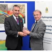UKHO Chief Executive, Ian Moncrieff CBE with William Heaps at the award ceremony in Southampton.