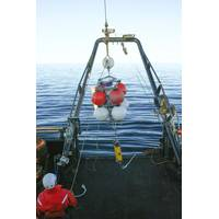 A vessel operated by Olgoonik/Fairweather deploys an Acoustic Doppler Current Profiler (ADCP) to measure temperature, salinity, and ocean current speed and velocity. (Photo: Olgoonik/Fairweather ADCP)