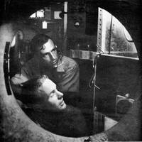 Don Walsh and Jacques Piccard inside Trieste's cabin, 1959. Image courtesy Don Walsh