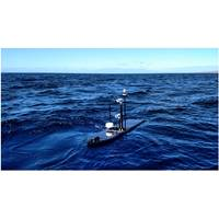 Wave Glider with BGAN dome, two cameras and additional sensors (Photo: Liquid Robotics)