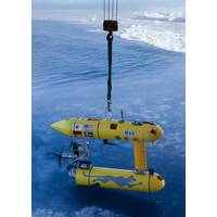 The WHOI SeaBED AUV 'Jaguar'  ready for deployment through a very thin layer of Antarctic sea ice. This helped produce the world's first detailed, high-resolution 3-D maps of Antarctic sea ice using an AUV. Credit: Peter Kimball, WHOI