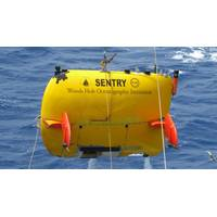 The WHOI-designed and -built Autonomous Underwater Vehicle (AUV) Sentry was used to locate the voyage data recorder from the sunken cargo ship El Faro. (Photo by Walter Cho, Woods Hole Oceanographic Institution)