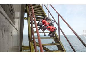 ANYBotics' ANYmal C legged robot took its first steps offshore on Petronas' Dulang C platform, Malaysia. Photos from ANYBotics.