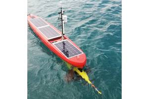 The AutoNaut Caravela wave propelled unmanned surface vessel with its SeaGlider payload. Photo: AutoNaut