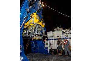 The CURV ROV is prepared for the search (Courtesy of U.S. Navy)