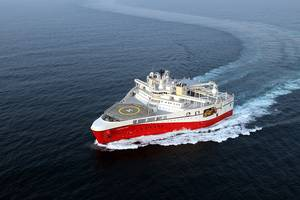 Flagship A PGS Titan-class survey vessel at work in the  Barents Sea. Courtesy Petroleum Geo-Services ASA