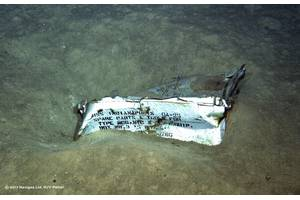 An image shot from a ROV shows a spare parts box from USS Indianapolis on the floor of the Pacific Ocean in more than 16,000 feet of water. (Photo courtesy of Paul G. Allen)