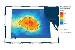 Modeled mass concentration of plastics in the Great Pacific Garbage Patch (Image: The Ocean Cleanup Foundation)