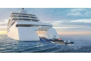 RENDERING OF NEW VIKING SHIP: This rendering shows what the new Viking expedition ships will look like, including the hangar for launching small vessels. Credit: Viking