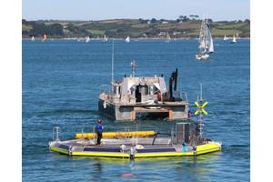 Seatricity's Oceanus 2 prepares for tow-out to the Cornish Wave Hub.
