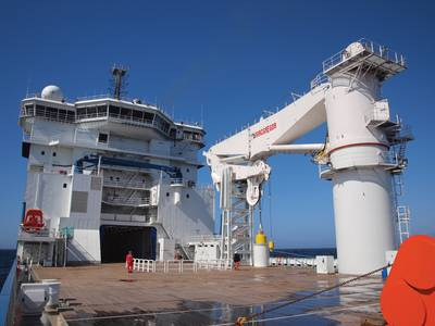 A 400-ton MacGregor subsea crane on board North Sea Shipping's North Sea Giant has a similar design with the main AHC winch installed under deck