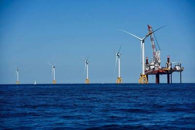 Another turbine is installed at the U.S.Block Island site in August 2016 (Photo: Business Network for Offshore Wind)