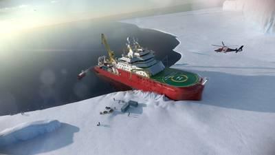 Artist rendering of the RRS Sir David Attenborough. Photo: British Antarctic Survey's
