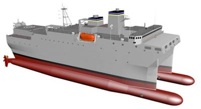 Artist's rendering of the new T-AGOS vessel (Image: Halter Marine)