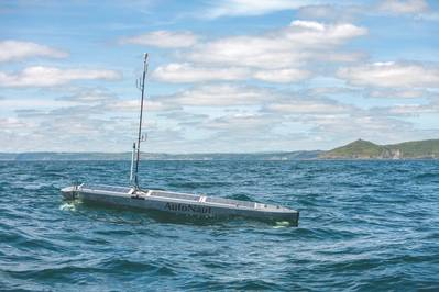 Autonomous Boat Monitors Ocean Noise: Plymouth University Marine Institute scientists are working with AutoNaut and its nearly silent 5m wave-propelled USV, which tows a Seiche Ltd passive acoustic monitoring array, on a project studying how increasing levels of manmade noise in the sea is affecting marine life. (Photo: AutoNaut)
