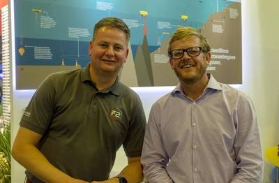 Barry Cairns, Vice President – Europe, Africa & Brazil, at Sonardyne, and Andrew Aldrich, Operations Manager at BMT, at Rio Oil & Gas this week. (Photo: Sonardyne)